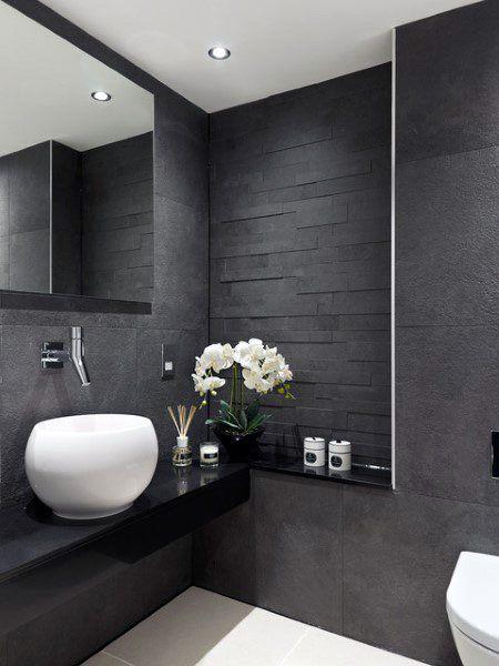 Top 60 Best Half Bath Ideas Unique Bathroom Designs Modern Bathroom Design Grey Grey Bathroom Interior Small Bathroom Remodel