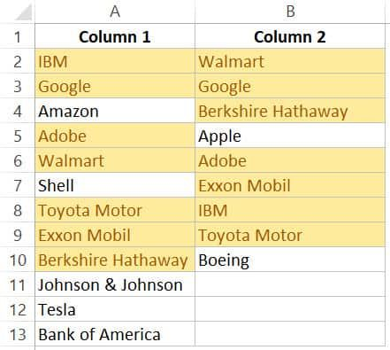 How To Compare Two Columns In Excel For Matches Differences Column Excel Workbook