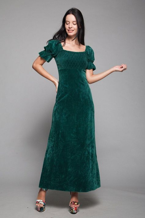 1970/'s Vintage Bohemian Blue Velvet /& Cutwork Lace Puff Sleeve Maxi Dress Size XXS
