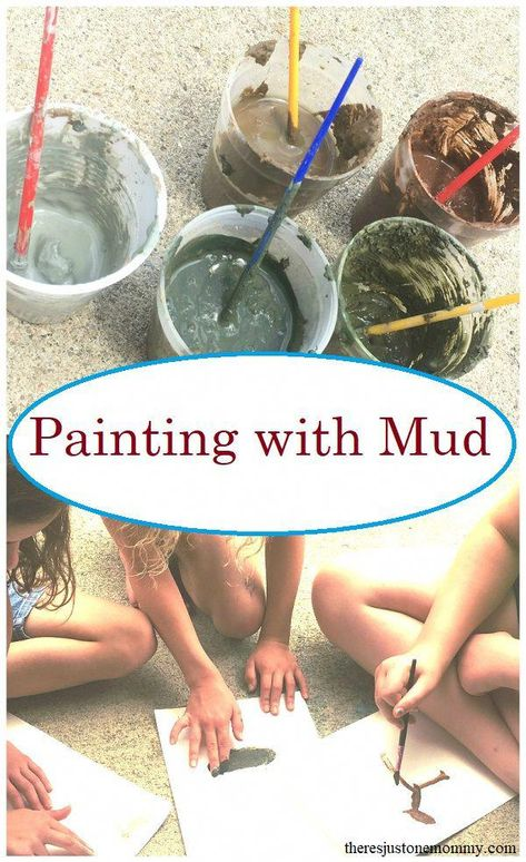 Mud Painting Fun Messy Art for Kids is part of Painting activities - Looking for a fun process art activity Mud painting is a fun sensory experience that is perfect for kids of all ages Learn how to make colorful mud paint Forest School Activities, Preschool Art Activities, Painting Activities, Nature Activities, Outdoor Activities For Kids, Outdoor Learning, Learning Activities, Process Art Preschool, Children Activities