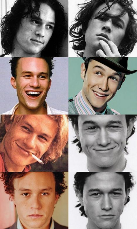 Heath Ledger and Joseph Gordon-Levitt. They seriously have to be long lost twins or something like that.