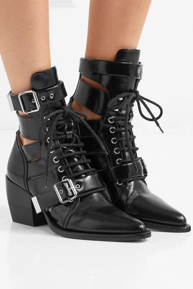 2b43f6a4a6f28 Heel measures approximately 60mm/ 2.5 inches Black leather Lace-up front,  buckle-fastening strapsSmall to size. See Size & Fit notes.