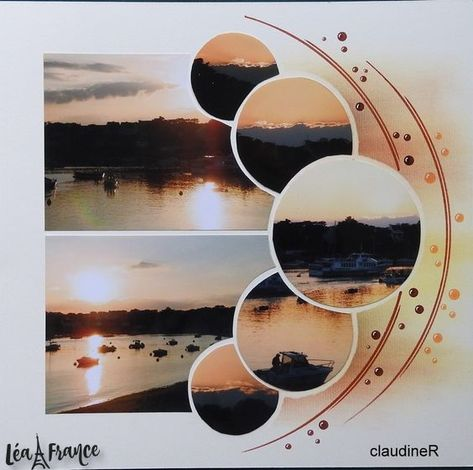 Romantic sunset moments in this scrapbooking layout that effortlessly combines sunset photos on one page thanks to the Lea France Pearls Stencil.