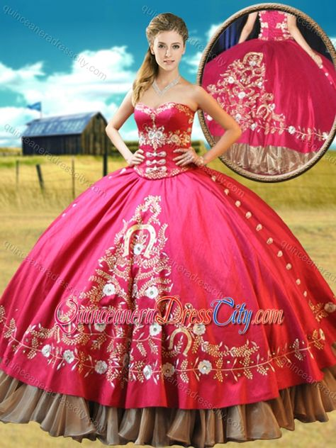 2016 Really Puffy Taffeta Red Designer Quinceanera Dresses with Appliques and Beading - http://m.quinceaneradresscity.com