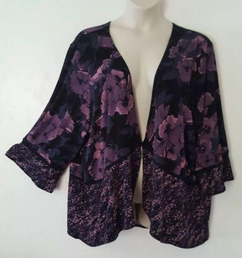 Womens Black Purple Floral Print 3 4 Bell Sleeve Top Blouse Plus