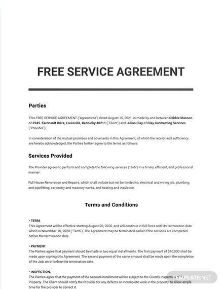 642 Free Sample Agreement Templates Edit Download Template Net Templates Agreement Word Doc