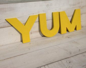 Yum Yum Yum Kitchen Sign Wood Sign Eat Vintage Decor Big