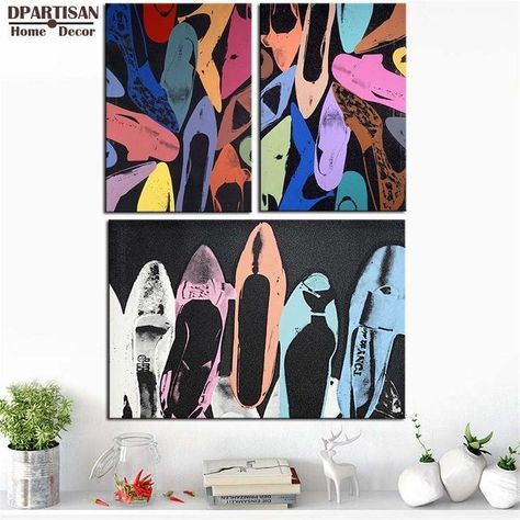 Various Sizes Diamond Dust Shoes Andy Warhol Canvas Wall Art Framed Print