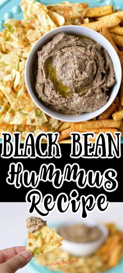 Easy Homemade Gluten Free Black Bean Hummus with Roasted Garlic Recipe If you are gluten free or a lover of gluten, you are going to eat up this easy homemade black bean hummus recipe. The beautiful thing about this recipe is that it can be made in less t Appetizer Recipes, Snack Recipes, Cooking Recipes, Appetizers, Snacks, Dinner Recipes, Easy Hummus Recipe, Pinto Bean Hummus Recipe, Lunches