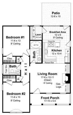 House Plan 348 00002 Traditional Plan 1 000 Square Feet 2 Bedrooms 2 Bathrooms New House Plans House Floor Plans Small House Plans