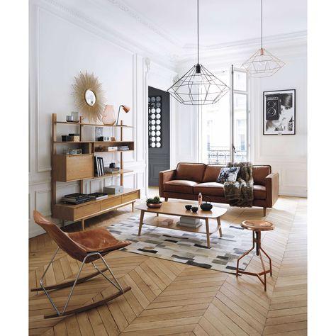 Fauteuil à bascule en cuir cognac G1 | Maisons du Monde