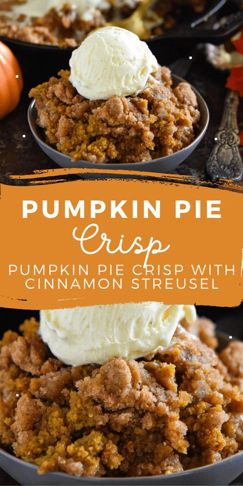 This easy Pumpkin Pie Crisp is made with a creamy pumpkin pie filling and a crunchy golden cinnamon streusel topping! Serve it warm with ice cream! #PumpkinPieCrisp #PumpkinCrisp #Pumpkin #PumpkinRecipes #PumpkinCobbler #PumpkinDesserts #FallRecipes #FallDesserts #Cobbler Pumpkin Spice Latte, Pumpkin Pumpkin, Autumn Recipes Pumpkin, Autumn Recipes Baking, Canned Pumpkin Recipes, Pumpkin Crisp, Best Pumpkin Pie, Pumpkin Spice Cookies, Homemade Pumpkin Pie