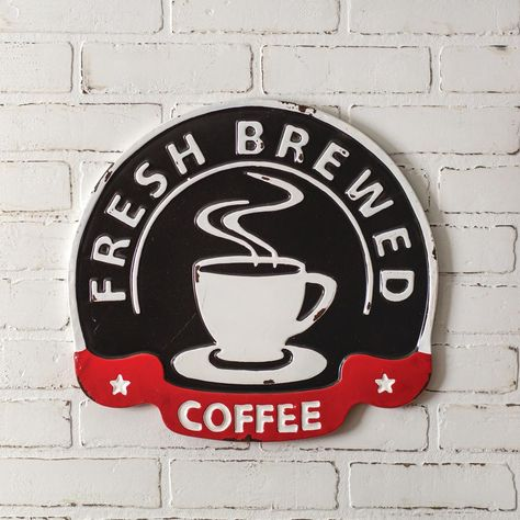 This sign is made of metal and hangs on the wall with keyhole hangers. Vintage Coffee Shops, Rustic Coffee Shop, Wall Hanger, Hangers, Rustic Gallery Wall, Coffee Shop Signs, Metal Walls, Wall Signs, Vintage Metal Signs