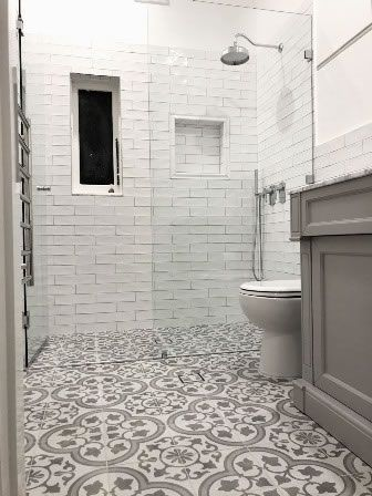 Classic Design In These Spanish Pattern Floor Tiles And Handmade Walls Encaustic Tiles Sydne Moroccan Tile Bathroom Patterned Floor Tiles Bathroom Renovations