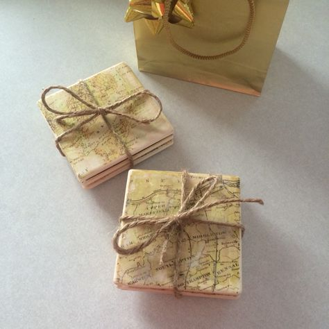 Diy Coasters For Him Ceramic Tiles From Michaels Modge Podge Image Transfer Old Vintage Ps Effects Maps Of