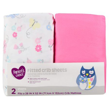 NEW Garanimals 2-pack Fitted Crib Sheets 200 Thread Pink 100/% Cotton 28/'/' X 52/'/'