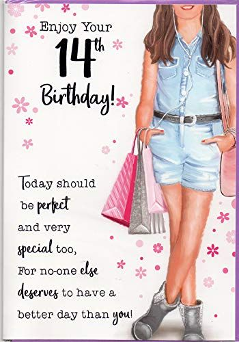 Fourteen 14 Year Old Girl Birthday Card Free 1st Class Post Uk Hatty Boots Birthday Wishes Girl Girl Birthday Cards Birthday Girl Quotes