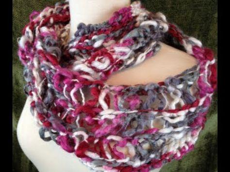 Loom Along: How to Loom Knit a Lacy Infinity Scarf on Martha Stewart Loom - YouTube