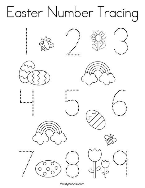 Easter Number Tracing Coloring Page Twisty Noodle Easter Coloring Pages Coloring Pages Craft Activities For Kids