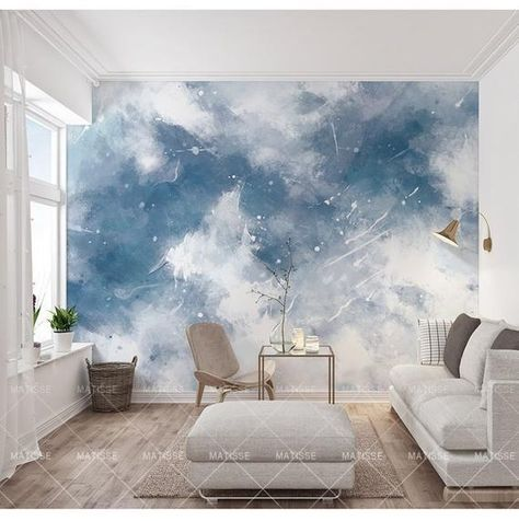 Abstract Handpainted Blue Color Sky Wallpaper , Blue and White Sky Abstract Wall Murals Wall Decor f