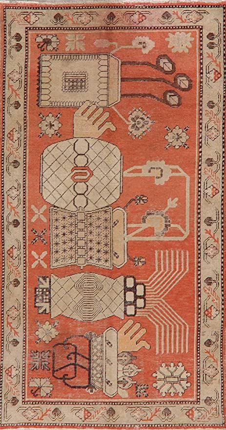Antique Vegetable Dye Khotan Chinese Area Rug Wool Handmade Oriental Kitchen Carpet 5x8 4 6 X 8 5 In 2020 Wool Area Rugs Rugs Area Rugs