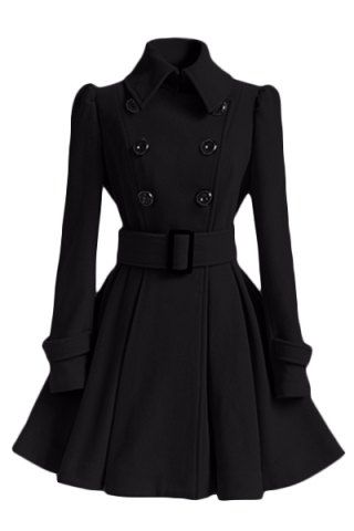Women's Chic Belt Long Sleeve Winter Coat Dress Coats | RoseGal ...