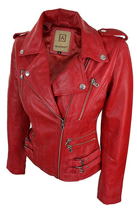 Missy Red Cropped Ladies New Real Waxed Lambskin Leather Short Fashion Jacket