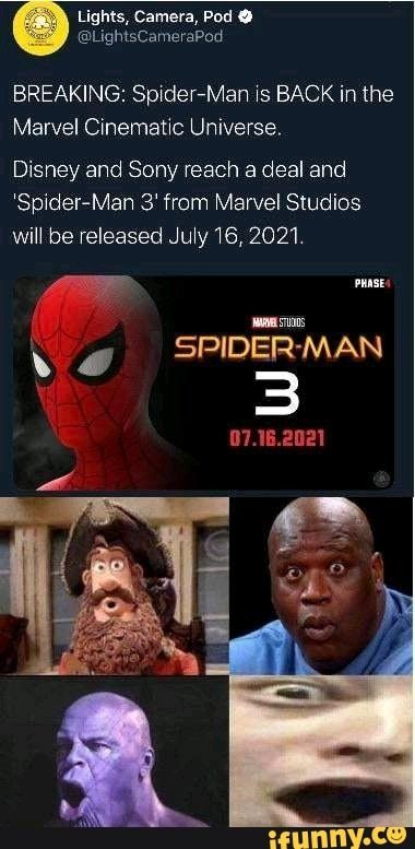 Breaking Spider Man Xs Back In The Marvel Cinematic Universe Disney And Sony Reach A Deal And Spider Man 3 From Marvel Studios Ifunny Marvel Cinematic Marvel Cinematic Universe Marvel Studios