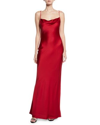 Satin Cowl Neck Bias Cocktail Gown By Jason Wu At Bergdorf Goodman Red Silk Dress Cocktail Gowns Dresses