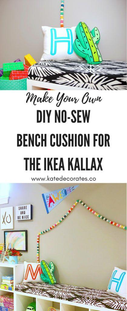 Ikea Kallax Cushion Hack Turn Your Shelf Into A Bench With An Easy Diy No Sew Cushion Kallax Ikea Ikea Playroom Ikea Diy