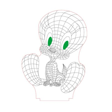 Tweety 3d Illusion Lamp Plan Vector File For Laser And Cnc 3bee Studio 3d Illusion Lamp 3d Illusions Laser Engraved Acrylic