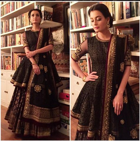c7b77e6fce Diya Mirza I A Black Embroidered Lehenga For This lehenga mail us at  contact@ladyselection.