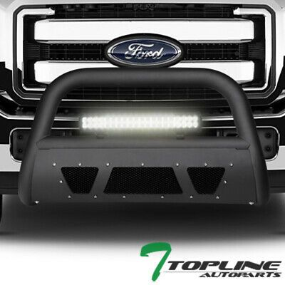 Sponsored Ebay Topline For 11 16 Ford F250 F350 Matte Blk Studded Mesh Bull Guard 120w Led Bar Ford F250 F250 F350