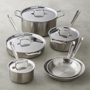All Clad D3 Tri Ply Stainless Steel 10 Piece Cookware Set