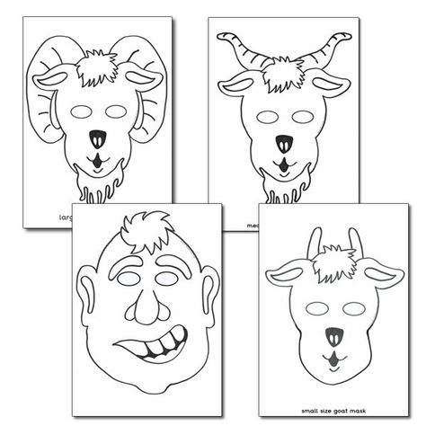 Billy Goat Gruff Role Play Masks Colouring Sheets Three Billy