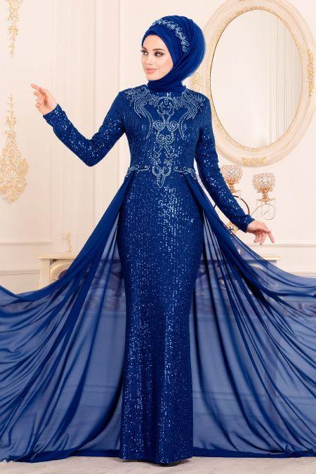 Nayla Collection Nayla Collection Pul Payetli Sax Mavisi Tesettur Abiye Elbise 25742sx Elbise Elbiseler The Dress