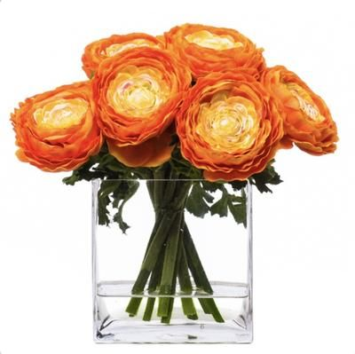 Faux Orange Ranunculus In Glass Vase Water Like Faux Flower Arrangements Flower Arrangements Silk Floral Arrangements