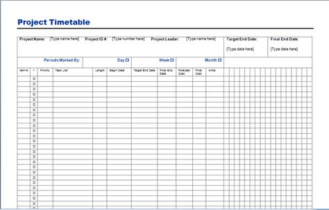 Project Timetable Template  Checklist    Templates And