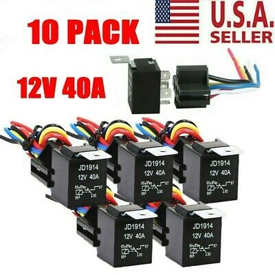 Ad Ebay 10pcs 12v 30 40 Amp 5 Pin Spdt Automotive Relay W Wires Harness Socket Set Us In 2020 Relay Socket Set Micro Gps Tracker