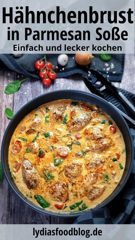 Dieses Hähnchenfilet in cremiger Frischkäse-Parmesan-Soße ist einfach köstlich. Ein Traum von cremiger Soße mit zartem Hähnchen und in Kombination mit Spaghetti einfach klasse. Ob mit Pasta, Couscous, Kartoffeln oder Reis, Hähnchen mit Frischkäse-Parmesan-Soße schmeckt immer. Ein einfaches Gericht für jeden Tag mit wenigen unkomplizierten Zutaten und schnell gemacht. #huhn #geflügel #parmesan #lydiasfoodblog #einfach #schnell #kochen #rezepte #pfannengericht