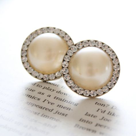 Wedding Plugs White Faux Pearl and Rhinestones Gauges