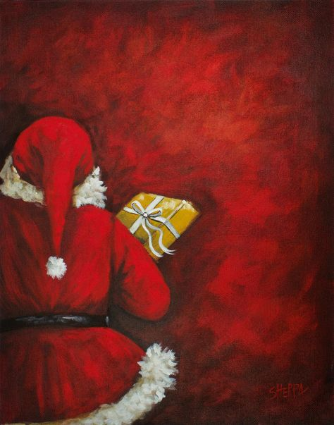 Secret Santa Easy Acrylic painting on Canvas for beginners step by step free Video tutorial by the Art Sherpa. Red Santa Hiding on Red Wall