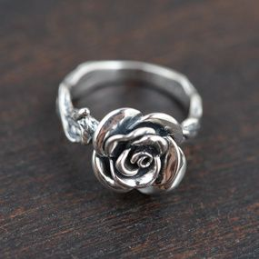 Vintage 925 Sterling Silver Flower Ring Rose ring size 7.5 Blossom Ring Floral Ring Leaf Ring flower jewelry