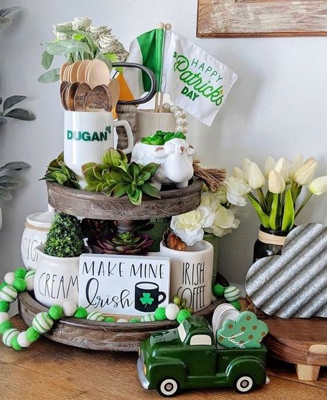 Patrick's Day Decor Ideas To Bring in All The Green and Luck of the Season - Hike n Dip Patrick's Day crafts DIY St. Patrick's Day Decor Ideas To Bring in All The Green and Luck of the Season - Hike n Dip Patricks day ideas diy Diy St Patricks Day Decor, St. Patricks Day, Saint Patricks, Irish Decor, St Patrick's Day Decorations, Tiered Stand, St Paddys Day, Luck Of The Irish, Tray Decor