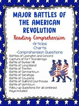 American Revolution Major Battles Worksheet Bundle Distance