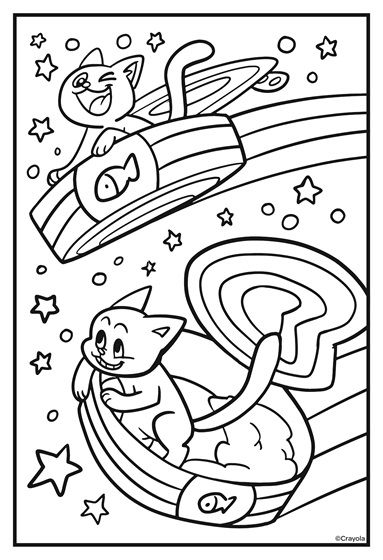 Cosmic Cats Flying Saucers Coloring Page Crayola Com Free Coloring Pages Coloring Pages Cat Coloring Page
