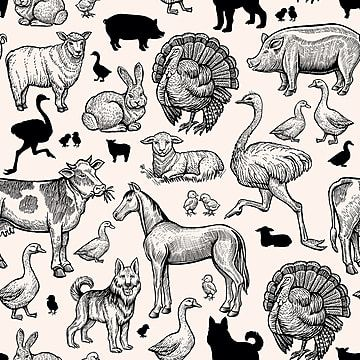 Vintage Farm Animals Seamless Pattern Pork S Butcher Png And Vector With Transparent Background For Free Download In 2021 Vintage Farm Vector Art Animal Sketches