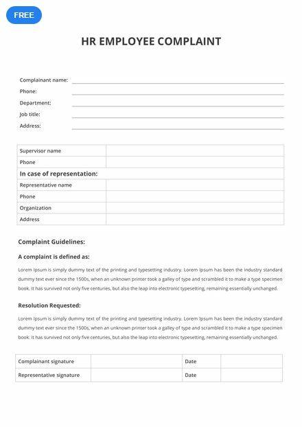 Free Hr Employee Complaint Form Employee Complaints Word Doc