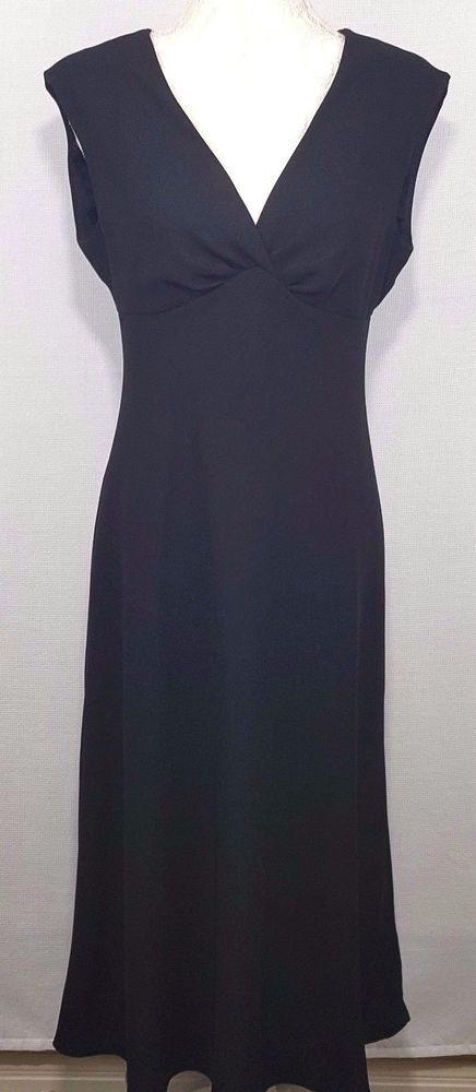 Womens Dress Size 8 Formal Sleeveless Ankle Length Fitted Black