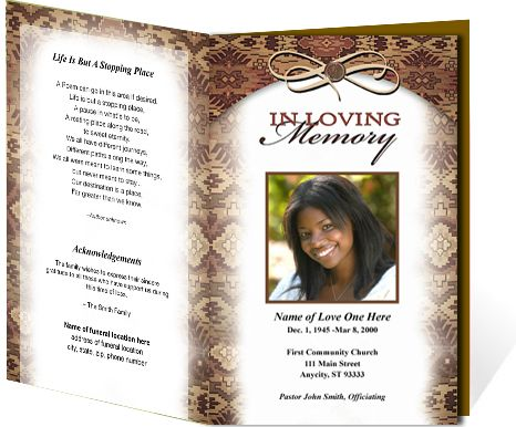 Funeral Programs: Messenger Single Fold Obituary Service Program Template